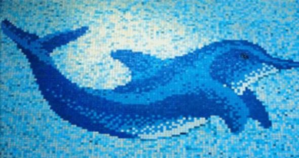 Mozaika pano do basenów szkło delfin niebieska Metropol MM 0948