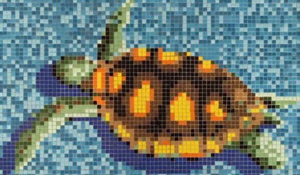 Mozaika pano do basenów szkło żółw niebieska żółta zielona Metropol MM 0947 30,5x30,5