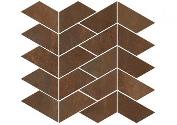 Mozaika podłogowa brąz rdza metal parkiet jodła ABK Interno 9 Mos.Versus Rust Ret 29 × 30