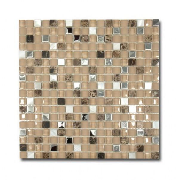 Mozaika szkło kamień brąz biały El Casa Brown Pearl 30,5x30,5 cm