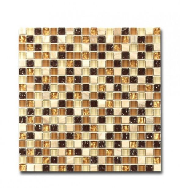 Mozaika szkło kamień brąz złoty El Casa Golden Eye 30,5x30,5 cm