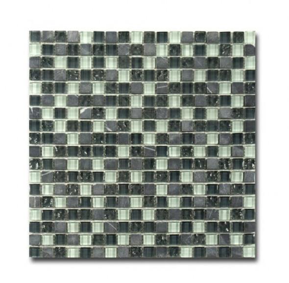 Mozaika szkło kamień szary biały El Casa Arctic Grey 30,5x30,5 cm
