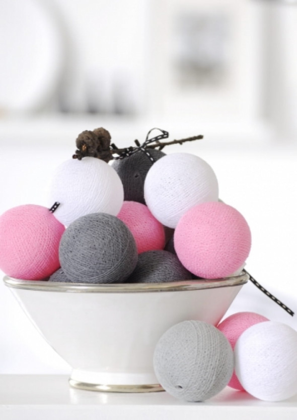 Cotton Ball Lights szaro różowa DARK PINK/GREY