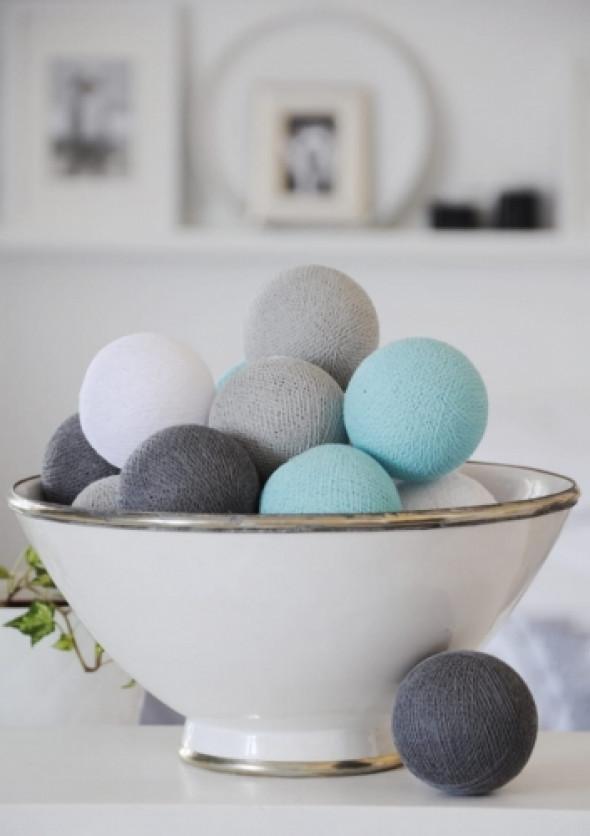 Cotton Ball Lights szary-biały-turkusowy 20 szt. AQUA