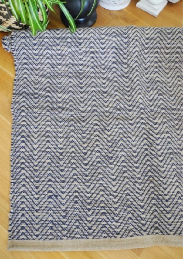 Dywan jutowy w niebieski wzór NATUREL (80x160 cm)