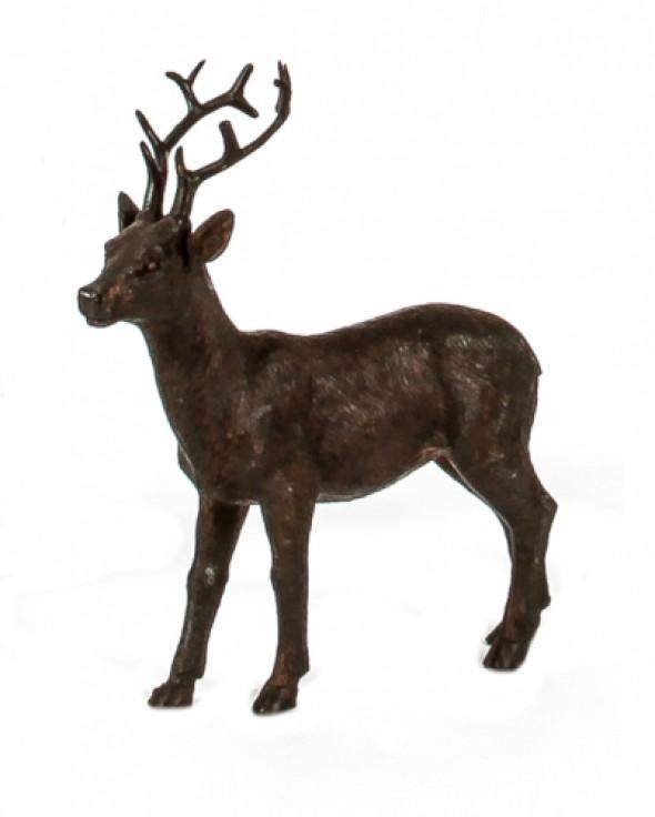 Figurka stojącego jelenia POLY BROWN