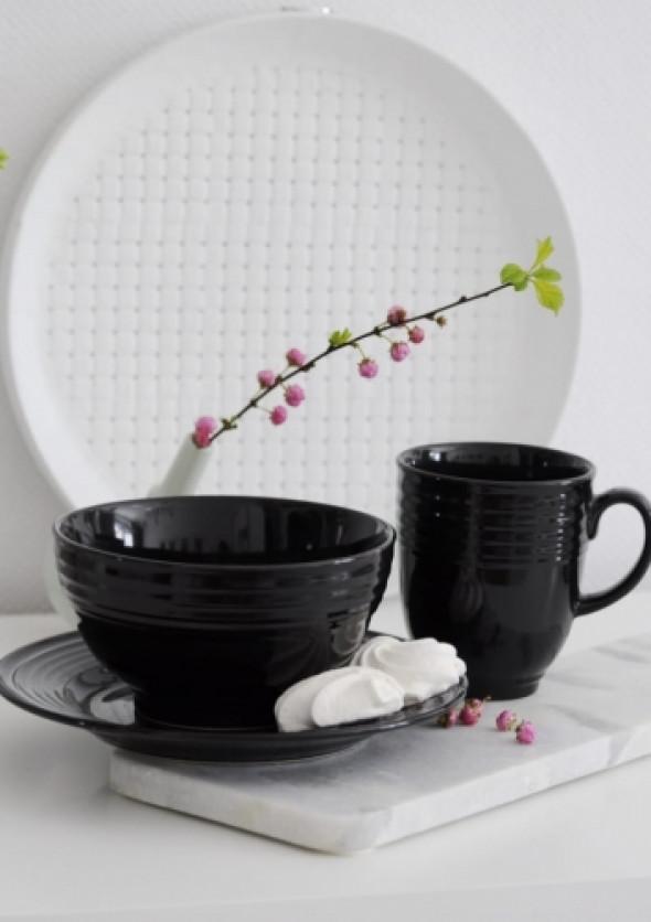 Komplet śniadaniowy z czarnej ceramiki BLACK