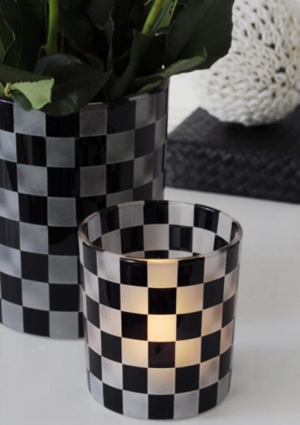 Lampion szklany we wzór szachownicy SQUARES