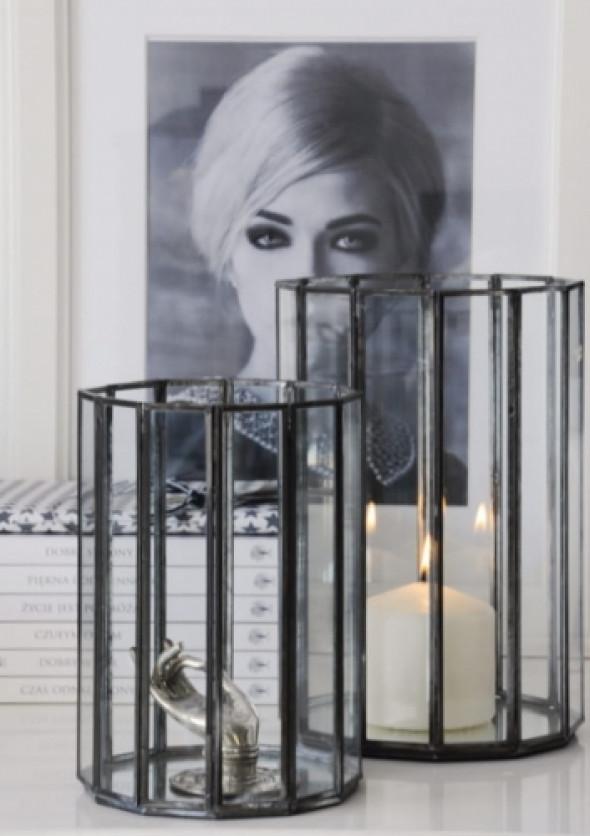 Lampion - szkło w metalowych ramkach ANTIQUE
