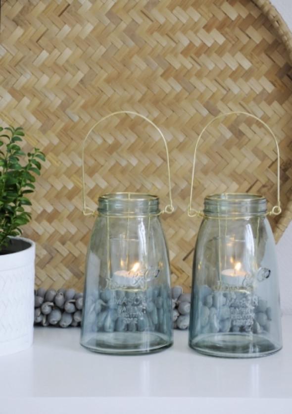 Lampion z niebieskiego szkła AQUA JAR