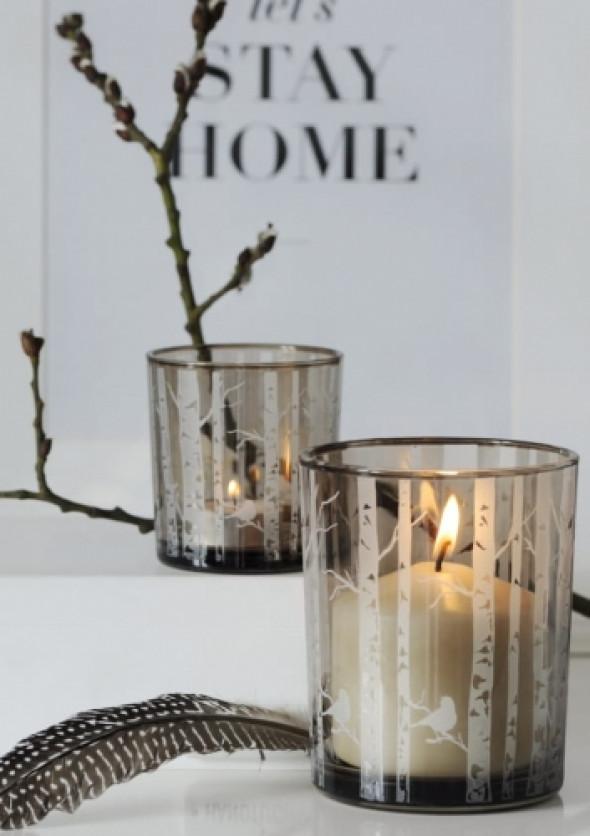 Lampiony szklane z motywem drzew Forest (zestaw 2 sztuk M/S)