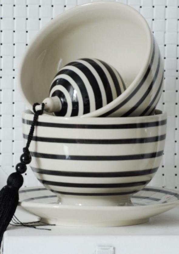 Miseczka w czarne paski - ceramika Bolesławiec