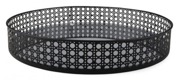 Okrągła taca metalowa z lustrzanym dnem INA