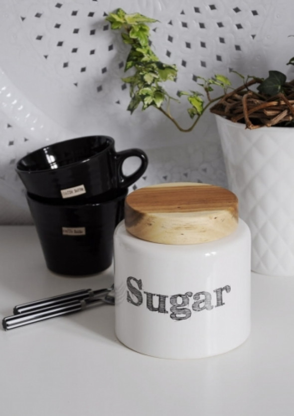 Pojemnik na cukier z drewnianym wieczkiem WOOD