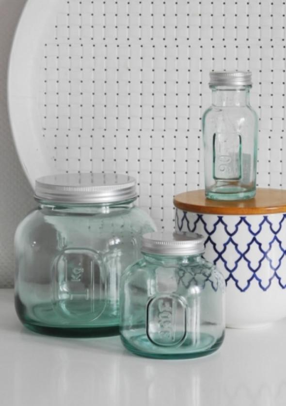 Pojemniki kuchenne z niebieskiego szkła BLUE GLASS (3 sztuki)