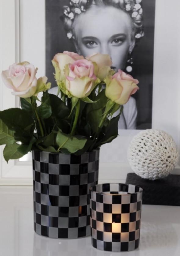 Pojemnik/lampion z barwionego szkła wzór szachownicy SQUARES