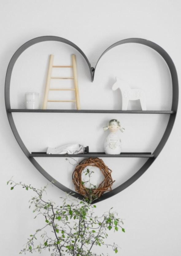 Półka w kształcie serca z grafitowego metalu HEART