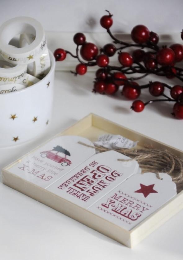 Przywieszki do prezentów świątecznych CHTISTMAS