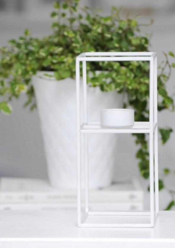 Świecznik metalowy biały CUBIC WHITE M