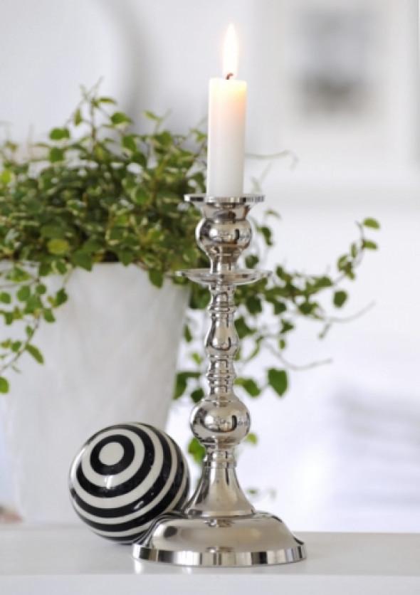 Świecznik niklowany na jedną świecę PLATER 21 cm