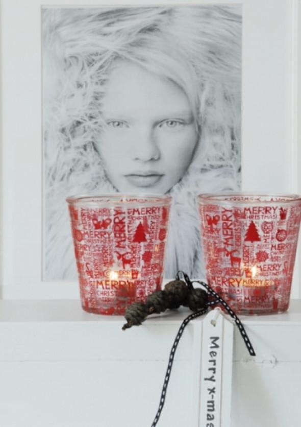 Świecznik świąteczny szklany czerwony RED CHRISTMAS