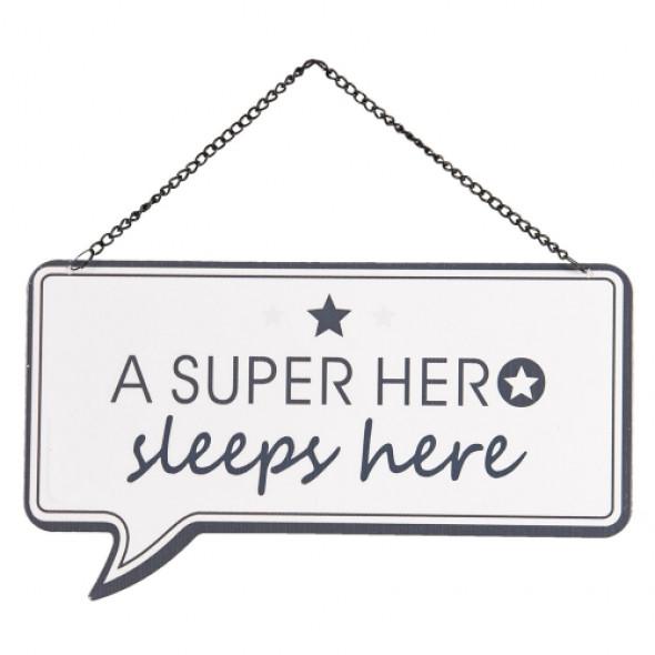 Szyld metalowy do pokoju dziecka Super Hero
