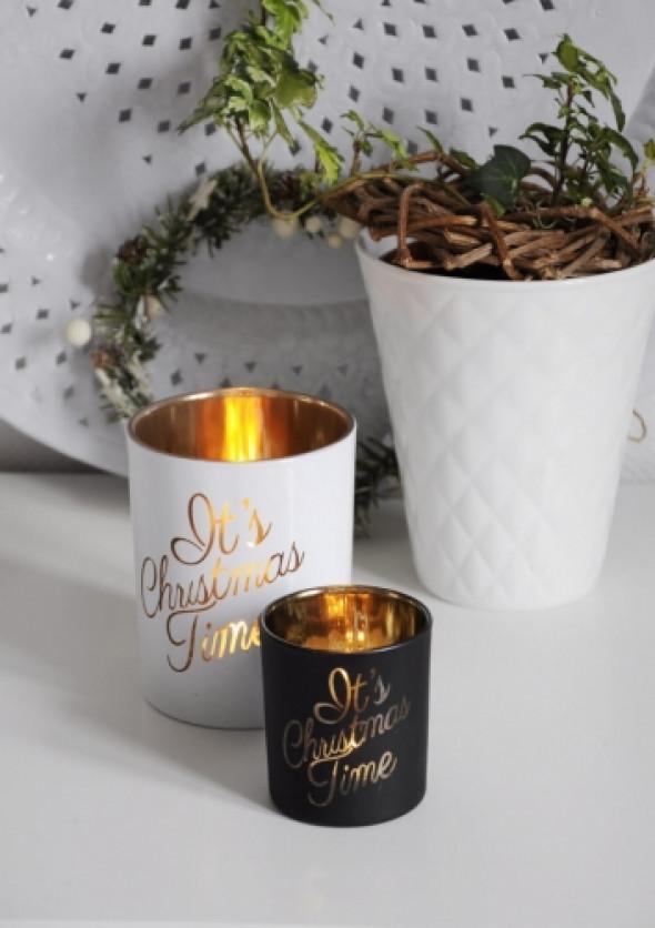 Tealight świąteczny czarny ze złotym tekstem CHRISTMAS BLACK