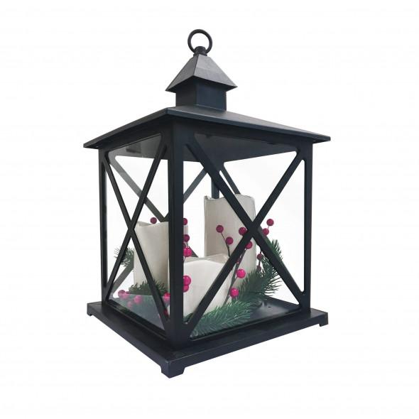 Lampa POLUX latarenka LED czarna 3 swiece i dekoracja