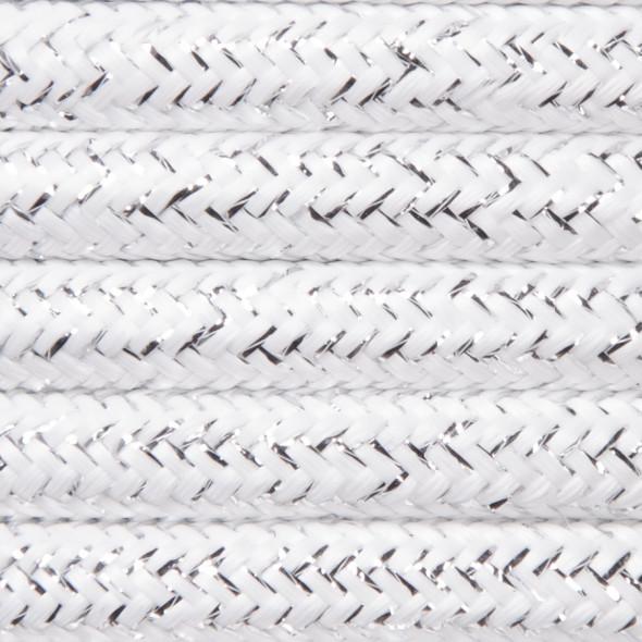 Kabel w oplocie brokatowym 2 x 0,75 - biały
