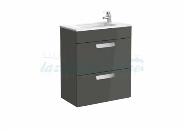 Roca Debba Unik Compacto zestaw łazienkowy z 2 szufladami 60x36cm, antracyt połysk A855905153