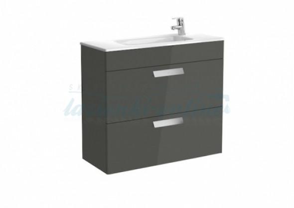 Roca Debba Unik Compacto zestaw łazienkowy z 2 szufladami 80x36cm, antracyt połysk A855907153