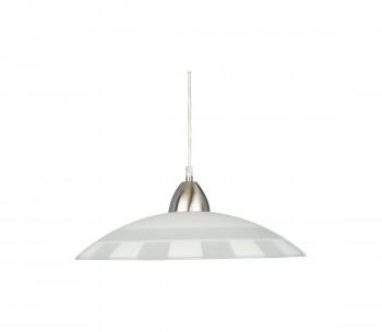 Lampa wisząca PLATE chrom/ biała kratka
