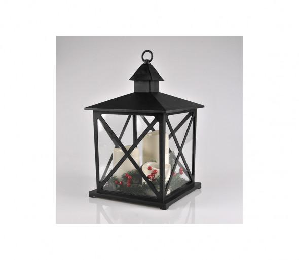 LED Dekoracja świąteczna 3xLED/3xAAA lampion czarne świeczki