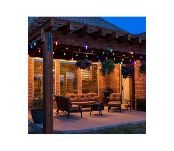 LED RGB Zewnętrzny łańcuch dekoracyjny GIRLANDA 10 m 10xE27/1,5W/230V IP44