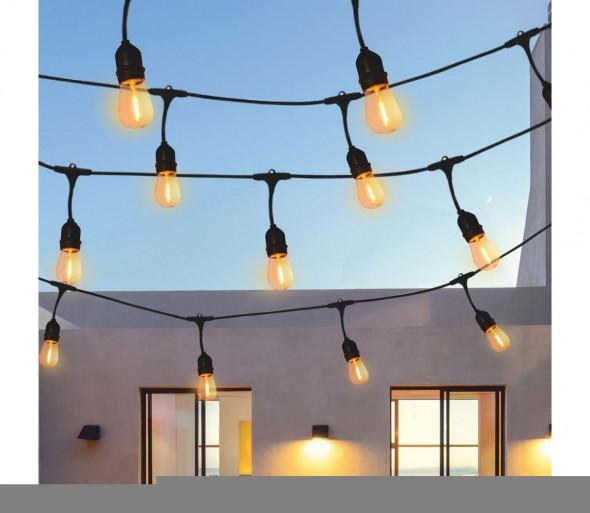 LED Zewnętrzny łańcuch dekoracyjny 5,6m 10xE27/6W/36V IP44