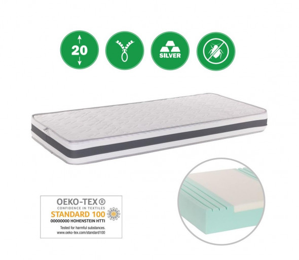 Monarch - Materac ortopedyczny dla sportowców ANCONA 90x200 cm Srebrny Medicott