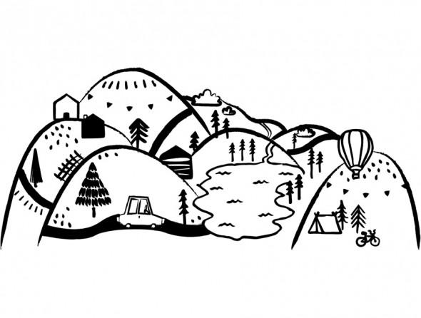 GÓRY CZARNE   naklejka do pokoju dziecięcego - Pastelowelove S (150 x 65 cm), połysk