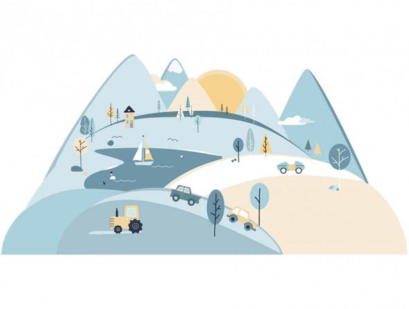 GÓRY   naklejka do pokoju dziecięcego - różne kolory - Pastelowelove błękitny, S (150 x 75 cm), połysk