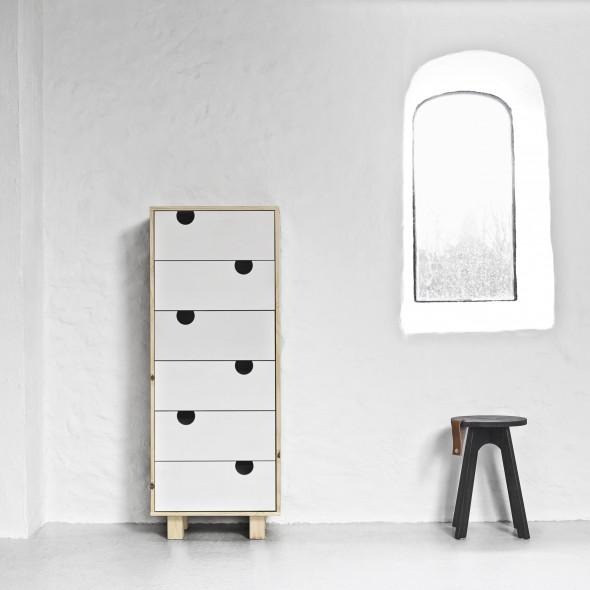 Komoda drewniana HOUSE 6 szuflad - KARUP biały, naturalny