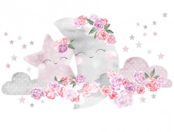KSIĘŻYC   naklejka do pokoju dziecięcego - różne kolory - Pastelowelove różowy, matowe