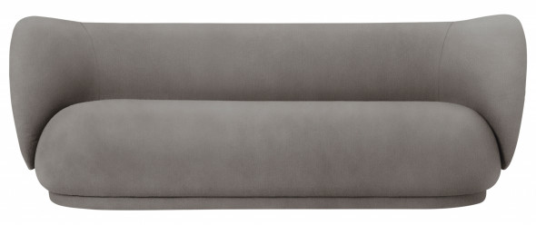 Sofa trzyosobowa RICO - ferm LIVING Boucle - Warm Dark Grey   ciemnoszary