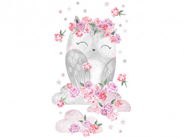 SOWA   naklejka do pokoju dziecięcego - różne kolory - Pastelowelove różowy, matowe
