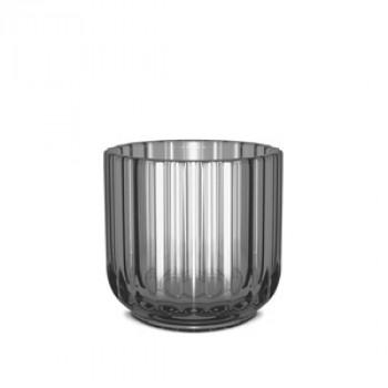 Świecznik szklany - smoke / czarny - Lyngby