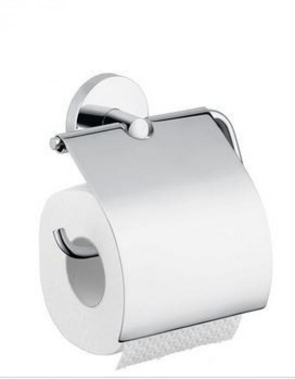 Hansgrohe Logis uchwyt na papier toaletowy z pokrywką nikiel szczotkowany 40523820