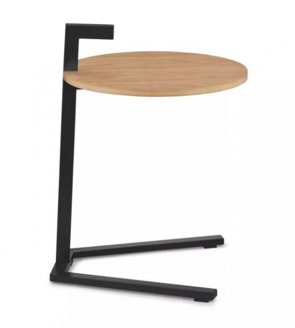 Kela Oak stolik okrągły 39 cm czarny mat drewno dębowe 24265