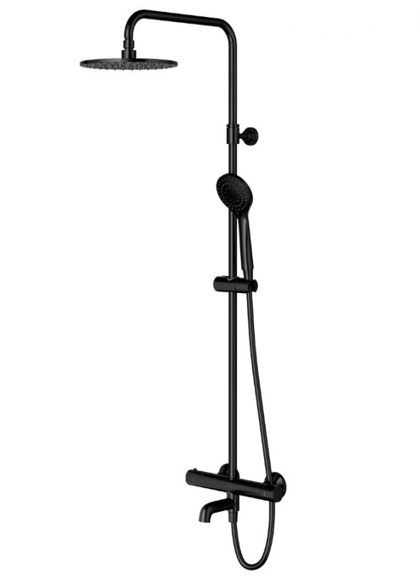 Omnires Y termostatyczny system wannowo-prysznicowy natynkowy z wylewką czarny Y1234ALBL
