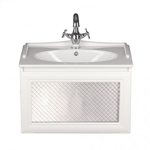 Sanitti Gamma szafka pod umywalkę 70 cm białe ramki front matowa szyba kratka biała GSB-1/3