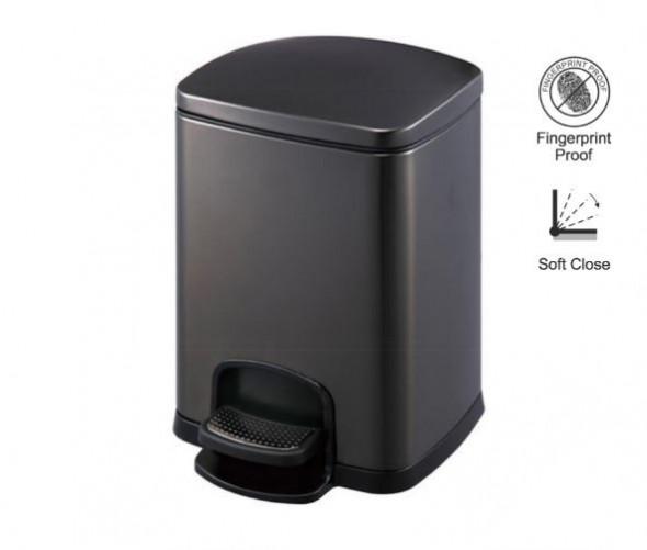 Stella kosz pedałowy Premium prostokątny 5 L czarny 2020305B