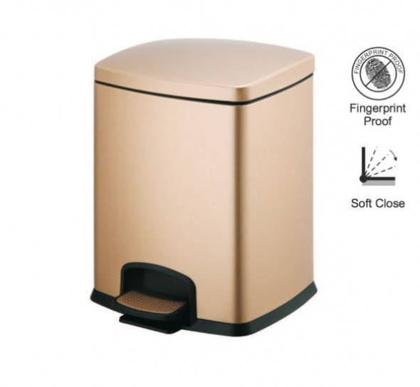 Stella kosz pedałowy Premium prostokątny 5 L złoty 2020305G
