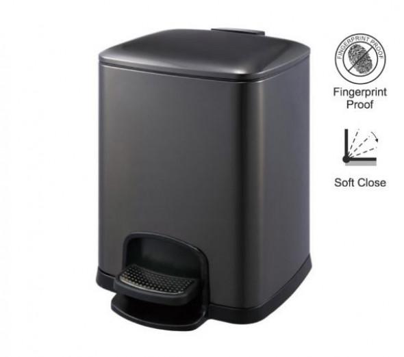 Stella kosz pedałowy Premium prostokątny 8 L czarny 2020308B